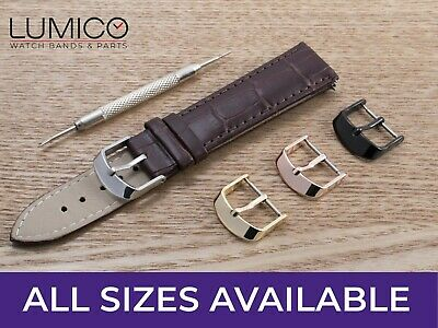 For OMEGA Watch Brown Genuine Leather Strap Band Buckle Clasp Mens Ladies Pins • 6.99£