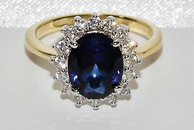 9ct Yellow Gold & Silver Blue Sapphire Princess Diana Ladies Cluster Ring Size R • 29£