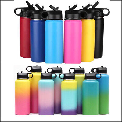 $18.99 • Buy Hydro Stainless Steel Water Bottle Flask Insulated Straw Lid Cap 32oz Sports