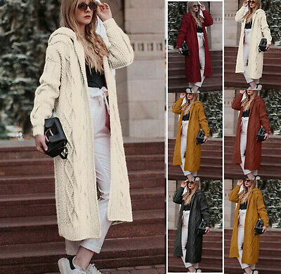 UK Winter Womens Chunky Knitted Sweater Open Front Long Cardigan Coat Plus Size • 13.85£