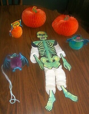 $ CDN26.42 • Buy Lot Of Vtg Honeycomb Halloween Decorations Owl Bat Spider Skeleton Pumpkins