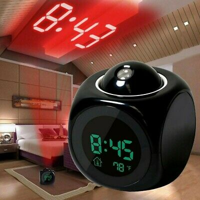 AU15.98 • Buy LED Digital Projection Alarm Clock Projector LCD Voice Talking Time Temperature