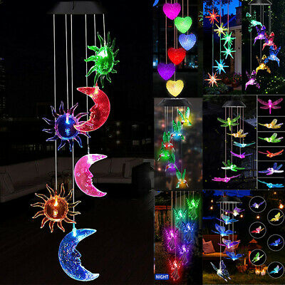 £10.49 • Buy Outdoor LED Colour Changing Hanging Ball Wind Chimes Solar Lights For Garden