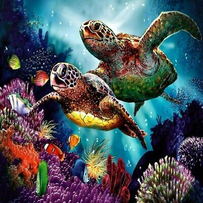 AU16.49 • Buy 5D Full Drill Diamond Painting Cross Stitich Two Turtles  Art Ocean Animal Home