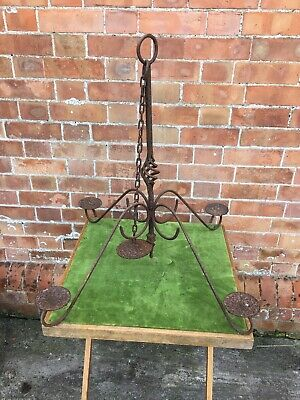 Large Antique Gothic Wrought Iron Candle Holder Candelabra Chandelier 2 Availab • 75£