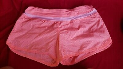 "$ CDN34.92 • Buy  LULULEMON Speed Up Short Lined Just Peachy Coral Striped 2.5"" Size 12 Like New"