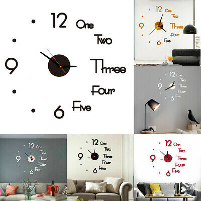 3D Large DIY Wall Clock Mirror Sticker Luxury Roman Number Art Home Decor Rooms • 4.19£