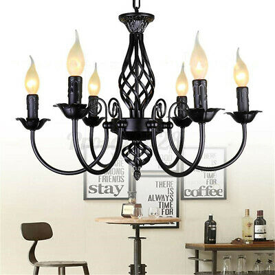 Vintage Style Chandelier Hanging Candle Light Ceiling Lamp Wrought Iron Pendant  • 54.17£