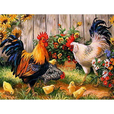 AU14.49 • Buy 5D Full Drill Diamond-Painting Cross Stitich Color Chicken Embroidery Farm House