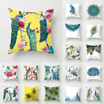 Cushion Covers 18  Peacock Pillow Case Square Cover Sofa Waist Throw Home Decor • 5.69£
