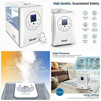 AU188.04 • Buy Levoit Humidifier For Home Bedroom 6L, Warm & Cool Mist Essential Oil Diffuser,