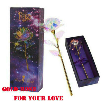 AU16.69 • Buy 24K Gold Plated Galaxy Rose Present Valentine's Day Gift To Girlfriend Wife Love