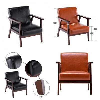 Retro Vintage Leather Armchair Sofa Accent Chair Cafe Seat Bench Bedroom • 80.95£