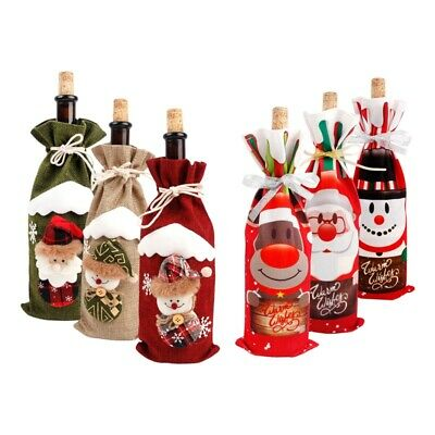 Christmas Santa Wine Bottle Cover Gift Bag Dinner Party Xmas Table Decoration • 1.69£