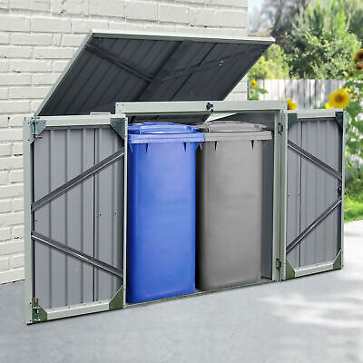 Outsunny 2-Bin Corrugated Steel Rubbish Storage Shed W/ Locking Doors Lid Unit • 184.99£