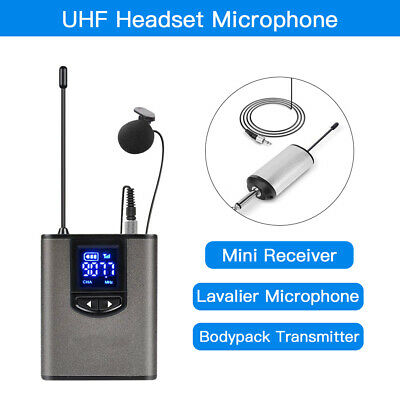 UHF Wireless Headset Microphone/Lavalier Mic LCD Screen Transmitter + Receiver • 38.29£