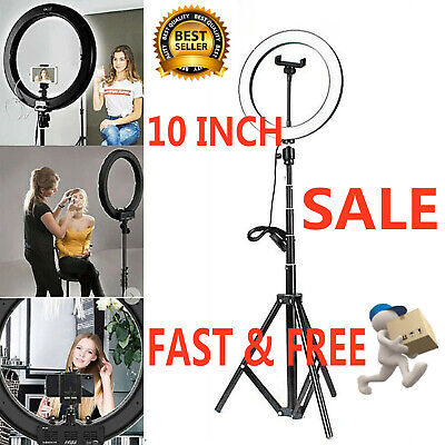 10 LED Ring Light With Stand For Youtube Tiktok Makeup Video Phone Selfie • 12.45£