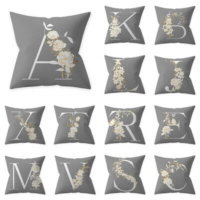 Uk Letter Polyester Cushion Cover Pillow Case Waist Throw Home Sofa Decor Grey • 5.39£