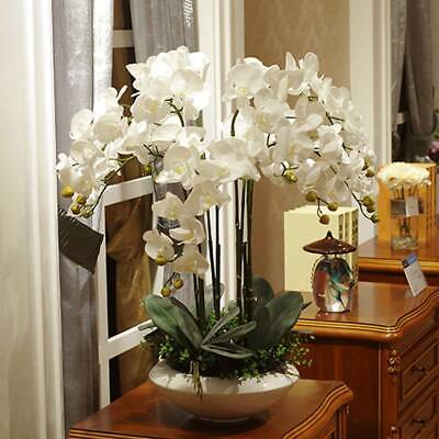 AU8.68 • Buy Artificial Butterfly Orchid Silk Flowers Bouquet Phalaenopsis Wedding Home Decor