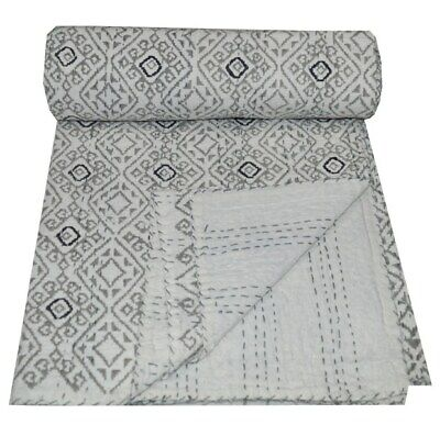 Indian Kantha Quilt Bedspread Bedding Throw Cotton Blanket Single Hand Block Art • 28.99£