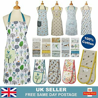 £7.95 • Buy 100% Cotton Aprons With Pocket   3 Pack Kitchen Tea Towels   Double Oven Glove