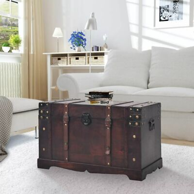 £123.59 • Buy Steamer Trunk Wood Storage Wooden Treasure Chest Coffee Table Large Mocha Brown