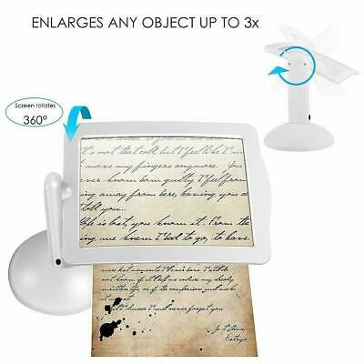 LED Magnifying Glass Stand With Light Lamp Hands Free Magnifier Foldable Clamp • 6.50£