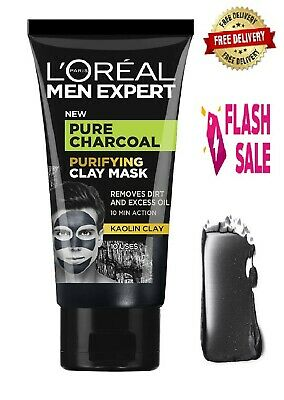 L'Oreal Men Expert Pure Charcoal Purifying Face Clay Tissue Mask 50 ML • 5.39£