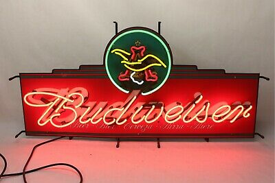 "$ CDN527.16 • Buy Vintage Budweiser Neon Sign 48  X 24"" Rare Size LARGE Works Great !"