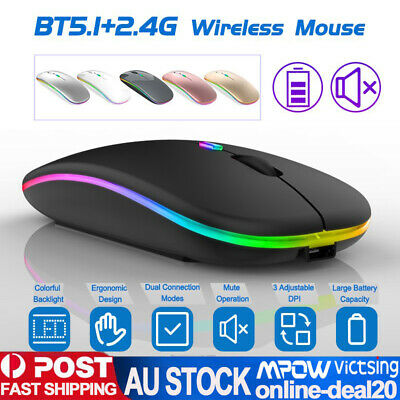 AU24.99 • Buy Optical Wireless Bluetooth Mouse Rechargeable For Android Phone Tablet PC Laptop