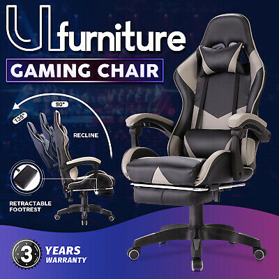 AU129.90 • Buy Gaming Chair Executive Office Computer Racer Recliner Chairs PU Seating Black