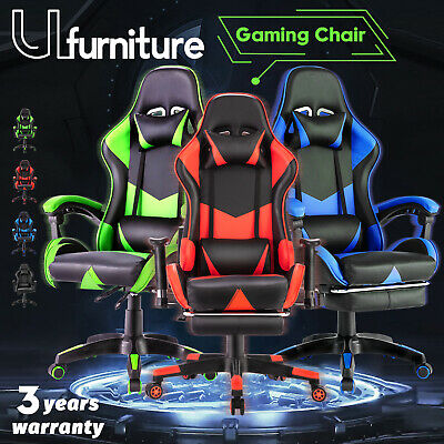 AU168.90 • Buy Gaming Chair Executive Office Computer Racer Recliner Pu Seating W/Footrest