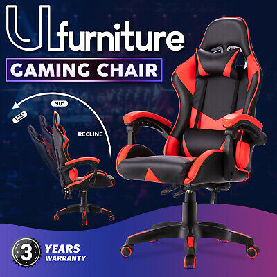 AU119.90 • Buy Gaming Chair Executive Office Chair Ergonomic PU Leather Recliner Chair Red