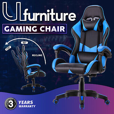 AU119.90 • Buy Gaming Chair Executive Office Computer Racer Recliner Chairs PU Seating Blue