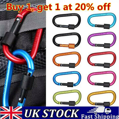 Outdoor  Large D Carabiner D-Ring Key Chain Camping Keyring Spring Snap Clips • 1.95£