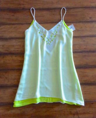 $ CDN13.20 • Buy MILLAU Anthropologie ~ Small ~ NEON YELLOW! LAZER CUT Layered Tunic DRAPY Tank