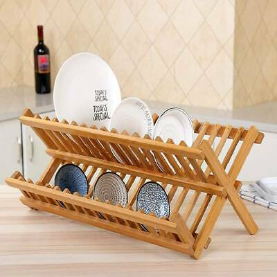 Folding Bamboo Wooden Draining Rack Dish Drainer Plate Washing Up Counter Sink • 10.99£