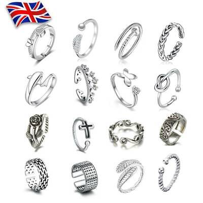 925 Silver Plt Adjustable Open Band Thumb Rings Ladies Statement Gift Wrap • 1.91£
