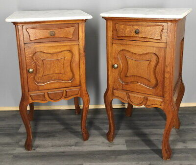 Rare Carved French Antique Bedside Tables Cupboards Cabinets With Marble Tops • 349£