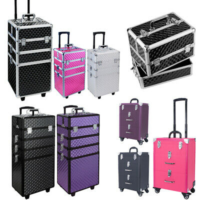 4in1 Professional Makeup Artist Carry Case Cosmetic Trolley Makeup Organizer Box • 58.95£