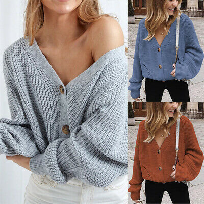 Winter Womens Bubble Bobble Sleeve Knitted Cardigan Chunky Knit Jumper Jacket  • 13.85£