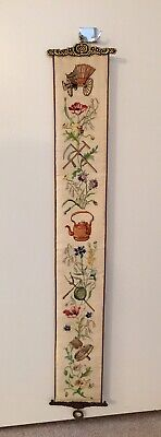 Vintage Embroidered Garden Floral Bell Pull Wall Hanging Brass Ends 6  X 42   • 30.77£
