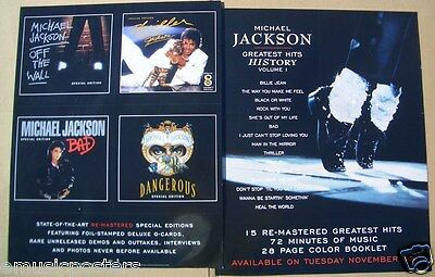 MICHAEL JACKSON  HISTORY 1  2-SIDED U.S. PROMO POSTER - 4 Covers & Magic Shoes! • 10.15£