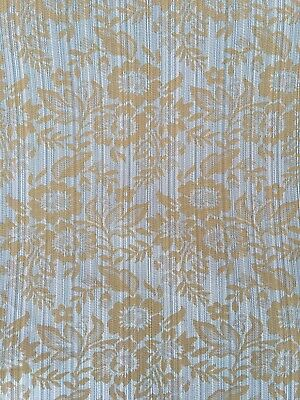 Duck Egg Blue Gold Floral Pattern Upholstery Fabric Material 140cm Wide No.324 • 1.49£