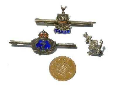 3 X  WRNS Women's Royal Naval Services Enamel Bar Badges Sweethearts #B132 • 18£