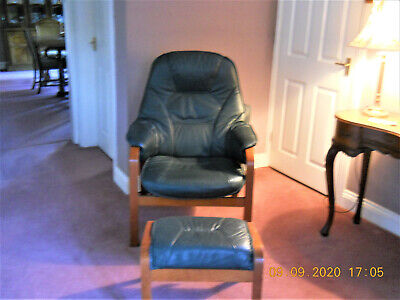 Green Leather Recliner Chair  And Stool • 38£