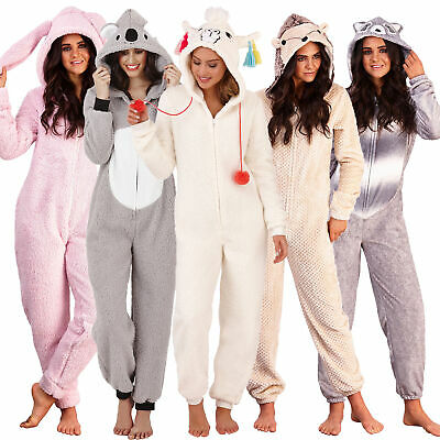 Womans Novelty Hooded Pyjamas | All-In-One Animal Fleece Jumpsuit Pjs | UK • 19.95£