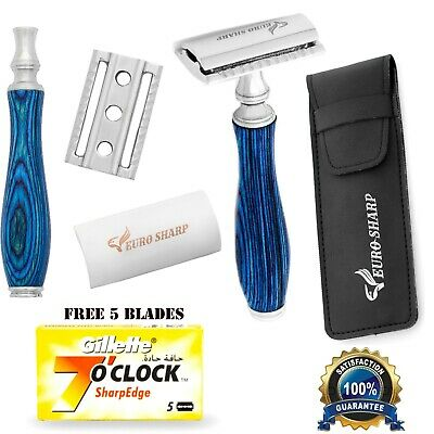 Mens Traditional Vintage Double Edge Safety Razor Set 5 Shaving Blades Pouch  • 8.99£