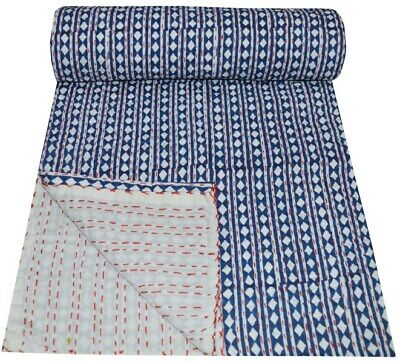 Indian Kantha Quilt Bedspread Bedding Throw Cotton Blanket Dots Print Handmade  • 28.99£
