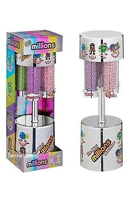 MILLIONS LARGE SWEET DISPENSER MACHINE SILVER & 8 X 16g BAGS OF MILLIONS SWEETS • 20.49£